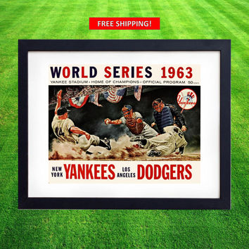 1963 World Series Los Angeles Dodgers vs New York Yankees Vintage World Series Poster Print Program Sandy Koufax Drysdale LA