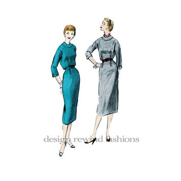 1950s Day Afternoon DRESS  Slot Seam Detail Round Yoke Collarless Neck 3-Quarter Sleeves Bust 29.5 Vogue 3586 UNCUT Vintage Sewing Patterns