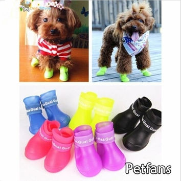 Fashion Pets Dog Rubber Rain Shoes Colorful  Waterproof Boots = 1929594500
