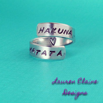 Custom Hand Stamped Spiral Aluminum Ring- You Personalize With Your Own Phrase- Can Have Hidden Message- Choose the Font