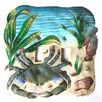 Switchplate - Hand painted metal light switch plate cover - Crab Design - Switch-Plate Cover - Haitian recycled steel oil drums - S-1041-2