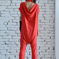 NEW Red Casual Jumpsuit/Oversize Summer Suit/Short Sleeve Loose Tunic/Red Harem Pants/Loose Jumpsuit/Plus Size Red Overall/Maxi Onepiece