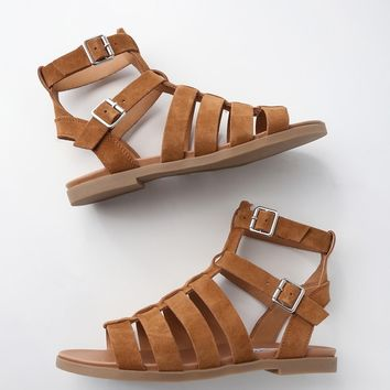 Diego Chestnut Suede Leather Gladiator Sandals