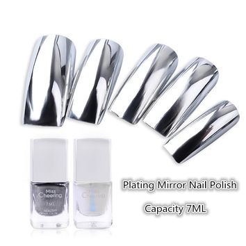 7ml Silver Mirror UV Nail Art Gel Polish Chrome Metallic Nail Tips Glitter Varnish Base Top Coat Manicure Nail Polishes Sets