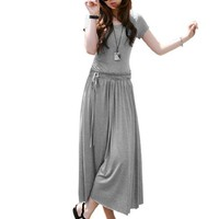 Allegra K Women Scoop Neck Short Sleeve Elastic Waist Ruched Mid Calf Dresses