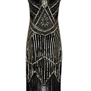 BelinlaAny Womens 1920s Gastby Inspired Sequined Embellished Fringed Flapper Dress