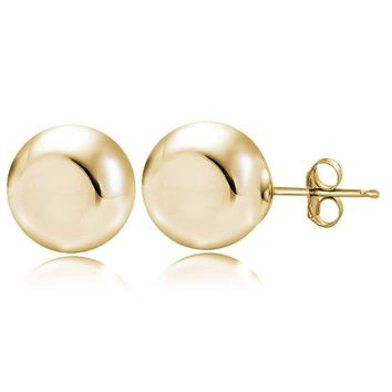 Gold Tone over Sterling Silver 9mm Polished Ball Bead Stud Earrings