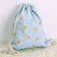 2016 Summer Fresh Women's Drawstring Backpack Cotton Linen Cartoon Fruit Printed Sackpack Beach Bag Travel Street Bag G0755