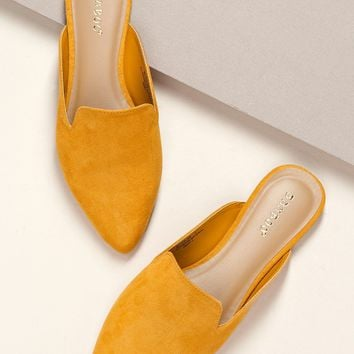 Closed Pointy Toe Mule Style Ballet Slide Flats