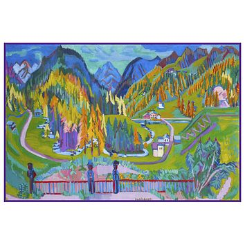 The Alps in Davos Switzerland by Ernst Ludwig Kirchner Counted Cross Stitch Pattern