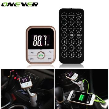Onever FM Transmitter TF Card MP3 Player Handsfree Bluetooth Car Kit Audio Radio Modulator USB Car Charger For Car Stereo Phone