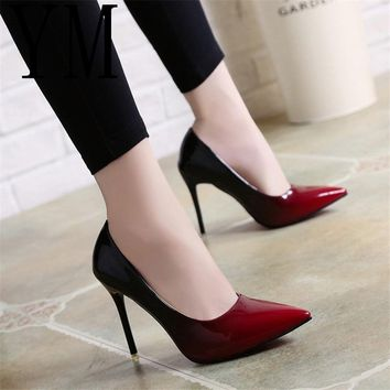 SHOES HEELS Shadow Women Shoes Pointed Toe Pumps Patent Leather Dress Wine Red 10CM High Heels Boat Shoes Wedding Shoes