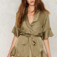 Mad World Satin Romper - Olive
