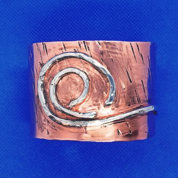 Mixed Metals Copper & 925 Sterling Silver Cuff Bracelet for Men or Women