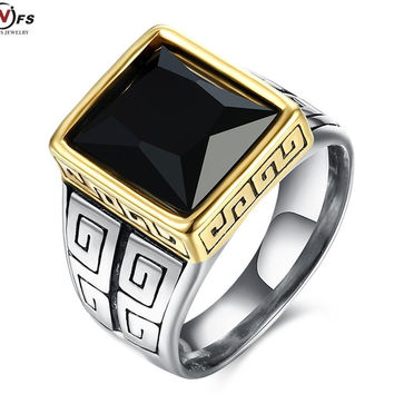 Vintage Look Stainless Steel Square Black Cz Cub Zirconia Pave Signet Ring For Men reat Wall Pattern Party Men Solid Ring