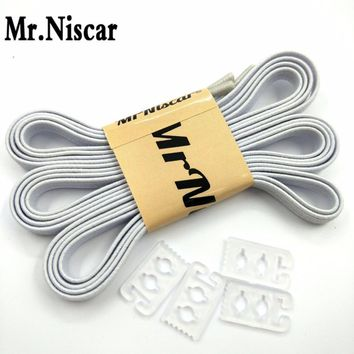 Mr.Niscar 1Pair 110cmX0.6cm Adult Children White Elastic Shoelaces for Sneaker Casual