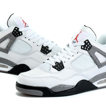 Men's Nike Air Jordan 4 Flight White Cement Grey