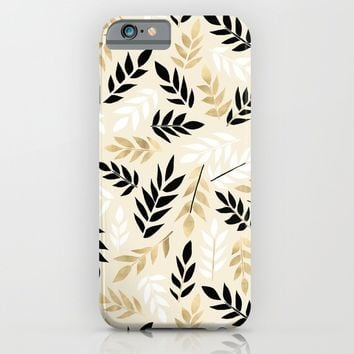 Black, White & Gold Fronds iPhone & iPod Case by Tangerine-Tane