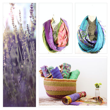 Silk Kantha Scarf - Stole Water Collection