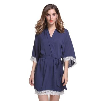 New Solid Cotton Kimono Robes