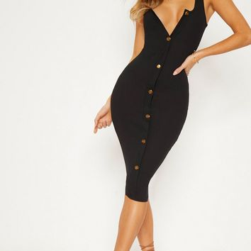 Ribbed Button Detail Midi Dress