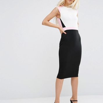 ASOS | ASOS Colourblock Pencil Dress with Cap Sleeve at ASOS