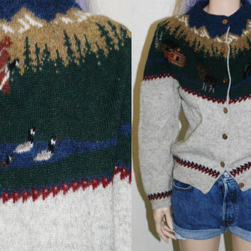90s wool cardigan nature animal scene ugly sweater hipster gtunge boho hippie xs s knit mod 70s 80s 60s