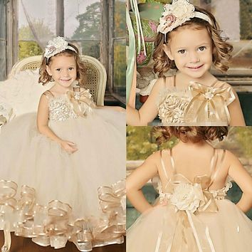 Hot  Cute vintage champagne pageant Flower Girl Dress floor- Length Handmade flowersl Girl vestidos Party gown Ball for Baby