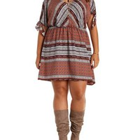 Plus Size Multi Knotted Sleeve Boho Print Dress by Charlotte Russe