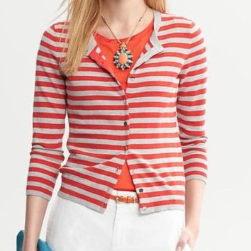 NWT Banana Republic Red & Gray Striped 3/4 Sleeve Cardigan, Medium
