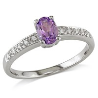 0.05 CT  Diamond TW And 5/8 CT TGW Created Alexandrite Fashion Ring 10k White Gold GH I2;I3