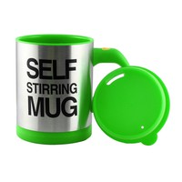 Tera HOT Stainless Plain Lazy Self Stirring Mug Auto Mixing Tea Coffee Cup Office Home Gift Novelty Green
