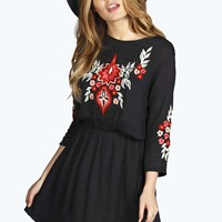 Boutique Elisa Embroidered Smock Dress