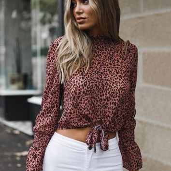 Chiffon Front Tie Leopard Blouse - Pink