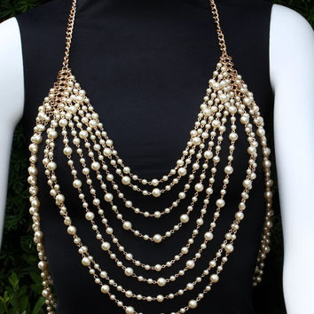 Body Chain Necklace Draping Pearl Beads (Faux) Metal Chains Ivory Multi Layered