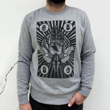 moth MENS sweater mystical tarot sweatshirt for man palmistry hand insect astrology print fortune telling steampunk hipster goth alternative