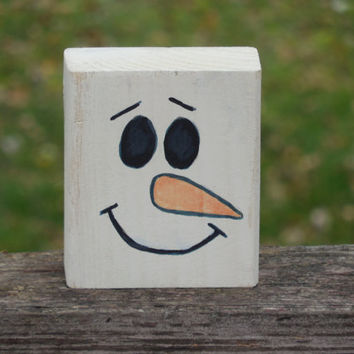 Wood Block Hand Painted Snowman Christmas Shelf Sitter Decor