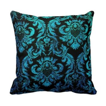 vintage gothic hipster black turquoise damask chic throw pillow