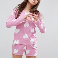 ASOS Heart Print Long Sleeve Tee & Short Pajama Set at asos.com