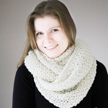 Kniteed Scarf ,White Soft Scarf , Infinity white scarf, Hand Knit Scarf, Knitting Warm Wool Large Scarves