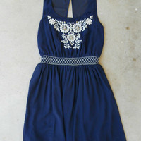 Navy Stonefly Dress [5463] - $29.60 : Vintage Inspired Clothing & Affordable Dresses, deloom | Modern. Vintage. Crafted.