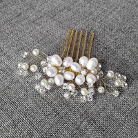 Freshwater pearls, bridal hair, Crystal headpiece, Wedding hair comb, bridal hair accessories, Bridal Jewelry