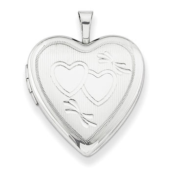 Sterling Silver Rhodium-plated 20mm Double Hearts Heart Locket QLS244