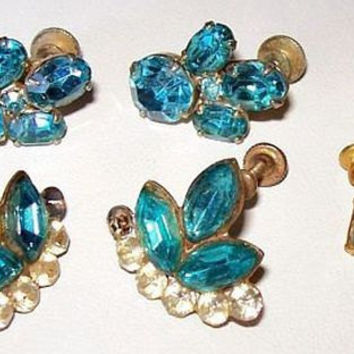Earring Lot 3 Pair Aqua Blue Screw Back Style One Signed Coro Gold Metal 1950s Vintage