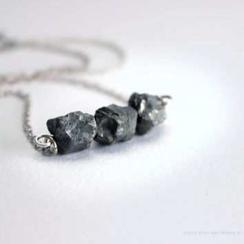 Raw Pyrite & Sterling Silver Bar Necklace