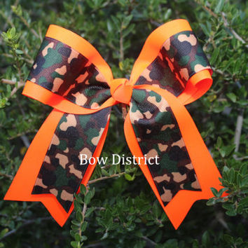 "2-1/4"" Camouflage and Neon Orange Cheer Bow"