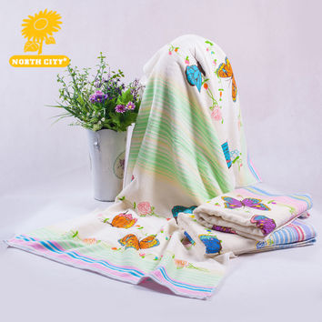 68*135 cm bathroom application lady quick dry cotton material rectangle shape butterfly pattern bath towel for adults #160413_m2
