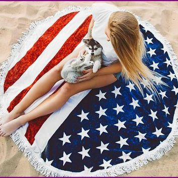 American Flag Printed Blanket Tassel Beach Round Tapestry Hippie Throw Round Yoga Sun Bath Towel Large Circle Beach Serviette