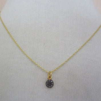 Pave diamond disc pendant, genuine pave diamond charm, gold vermeil chain, silver and diamonds, diamond charm, dainty necklace