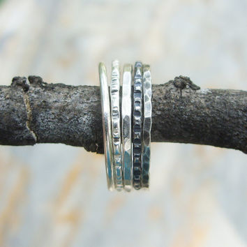 Single Thin Sterling Silver Stacking Ring - Mix and Match Choice of Texture / Finish - Hammered, Smooth, Notched - Antiqued, Blackened